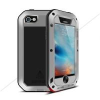 Эксклюзивный многомодульный ультрапротекторный пылевлагозащищенный ударостойкий нескользящий чехол алюминиево-цинковый сплав/силиконовый полимер с закаленным защитным стеклом для Iphone 5/5s/SE Серый