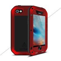 Эксклюзивный многомодульный ультрапротекторный пылевлагозащищенный ударостойкий нескользящий чехол алюминиево-цинковый сплав/силиконовый полимер с закаленным защитным стеклом для Iphone 5/5s/SE Красный