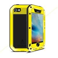 Эксклюзивный многомодульный ультрапротекторный пылевлагозащищенный ударостойкий нескользящий чехол алюминиево-цинковый сплав/силиконовый полимер с закаленным защитным стеклом для Iphone 5/5s/SE Желтый