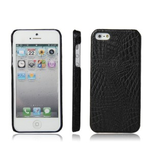 Чехол накладка текстурная отделка Кожа для Iphone 5/5s/SE Черный