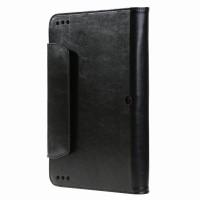 Вощеный чехол книжка подставка с рамочной защитой экрана, крепежом для стилуса и отсеком для карт для ASUS Transformer Book T100HA Черный