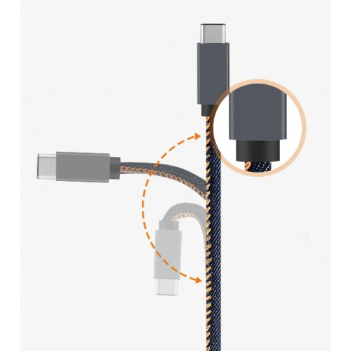 Зарядный кабель USB-Type C 3.1 1м повышенной прочности с джинсовым покрытием