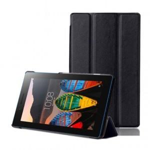 Сегментарный чехол книжка подставка на непрозрачной поликарбонатной основе для Lenovo Tab 3 7 Essential  Черный
