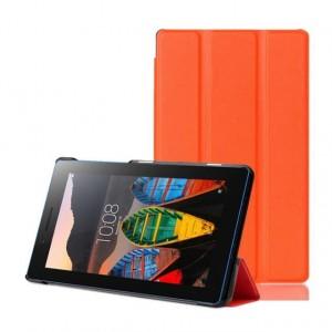 Сегментарный чехол книжка подставка на непрозрачной поликарбонатной основе для Lenovo Tab 3 7 Essential  Оранжевый