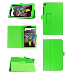 Чехол книжка подставка с рамочной защитой экрана и крепежом для стилуса для Lenovo Tab 3 7 Essential Зеленый