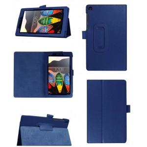Чехол книжка подставка с рамочной защитой экрана и крепежом для стилуса для Lenovo Tab 3 7 Essential Синий