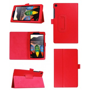 Чехол книжка подставка с рамочной защитой экрана и крепежом для стилуса для Lenovo Tab 3 7 Essential Красный