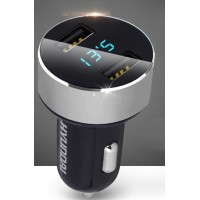 Автомобильное зарядное устройство Hyundai на 2 USB разъема 5В (2.1А и 1А) с LCD-экраном для отображения напряжения и тока зарядки