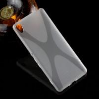 Силиконовый матовый полупрозрачный чехол с дизайнерской текстурой X для Sony Xperia XA  Белый