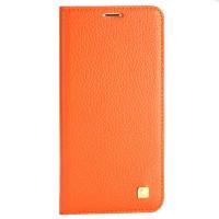 Кожаный чехол горизонтальная книжка на пластиковой основе с отсеком для карт для Meizu MX6 Оранжевый