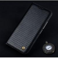 Кожаный чехол горизонтальная книжка (премиум нат. кожа) для Meizu MX6  Черный