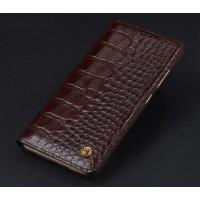 Кожаный чехол горизонтальная книжка (премиум нат. кожа крокодила) для Meizu MX6  Коричневый