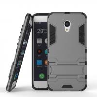 Противоударный двухкомпонентный силиконовый матовый непрозрачный чехол с поликарбонатными вставками экстрим защиты с встроенной ножкой-подставкой для Meizu MX6  Серый