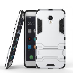 Противоударный двухкомпонентный силиконовый матовый непрозрачный чехол с поликарбонатными вставками экстрим защиты с встроенной ножкой-подставкой для Meizu MX6  Белый