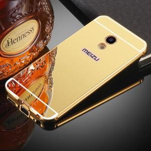 Двухкомпонентный чехол c металлическим бампером с поликарбонатной накладкой и зеркальным покрытием для Meizu MX6