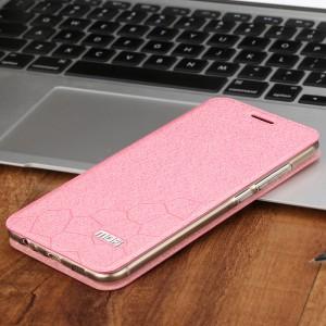Чехол горизонтальная книжка подставка текстура Соты на силиконовой основе для Meizu MX6 Розовый
