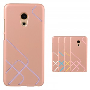 Пластиковый непрозрачный матовый чехол с текстурным покрытием Металл и сменными вкладышами для Meizu MX6