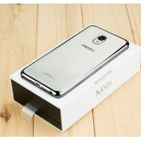 Силиконовый матовый полупрозрачный чехол с текстурным покрытием Металлик для Meizu MX6  Серый