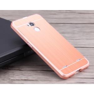 Двухкомпонентный чехол c металлическим бампером с поликарбонатной накладкой и текстурным покрытием Металл для ZTE Blade V7 Lite  Розовый