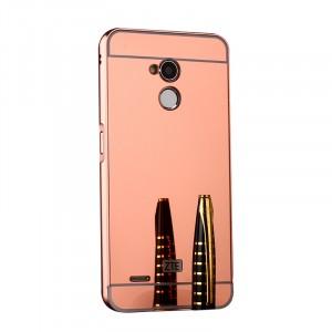 Двухкомпонентный чехол c металлическим бампером с поликарбонатной накладкой и зеркальным покрытием для ZTE Blade V7 Lite  Розовый