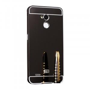 Двухкомпонентный чехол c металлическим бампером с поликарбонатной накладкой и зеркальным покрытием для ZTE Blade V7 Lite  Черный