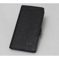 Кожаный чехол горизонтальная книжка подставка (премиум нат. кожа крокодила) для ZTE Blade V7 Lite  Черный