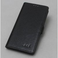 Кожаный чехол горизонтальная книжка подставка (премиум нат. кожа) с крепежной застежкой для ZTE Blade V7 Lite  Черный