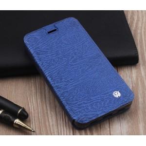 Чехол горизонтальная книжка подставка текстура Дерево на силиконовой основе для ZTE Blade V7 Lite  Синий