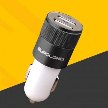 Автомобильное зарядное устройство на 2 USB разъема 5В 2.1А с нескользящим металлическим покрытием