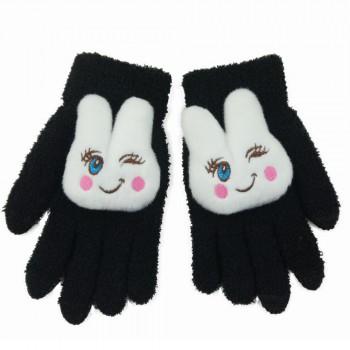 Сенсорные трехпальцевые перчатки шерсть/акрил дизайн Зайка