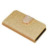Чехол горизонтальная книжка подставка текстура Золото на силиконовой основе с отсеком для карт на дизайнерской магнитной защелке для ZTE Blade V7 Lite  Бежевый