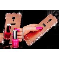 Двухкомпонентный чехол c металлическим бампером с ручной аппликацией стразами, поликарбонатной накладкой и зеркальным покрытием для Meizu MX6  Розовый