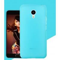 Силиконовый матовый полупрозрачный чехол для Meizu MX6  Голубой