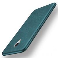 Пластиковый непрозрачный матовый чехол с защитой торцев и текстурным покрытием Металл для Meizu MX6  Зеленый