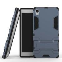Противоударный двухкомпонентный силиконовый матовый непрозрачный чехол с поликарбонатными вставками экстрим защиты с встроенной ножкой-подставкой для Sony Xperia Z5 Premium  Синий