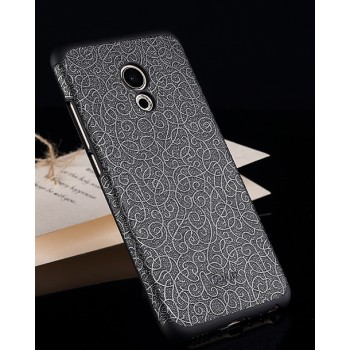 Пластиковый непрозрачный матовый чехол с текстурным покрытием Металл для Meizu Pro 6