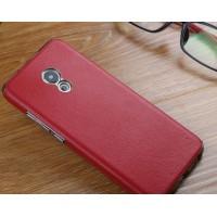 Пластиковый непрозрачный матовый чехол с текстурным покрытием Кожа для Meizu Pro 6  Красный