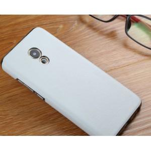 Пластиковый непрозрачный матовый чехол с текстурным покрытием Кожа для Meizu Pro 6  Белый