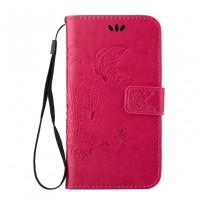 Чехол портмоне подставка текстура Узоры на силиконовой основе на магнитной защелке для HTC Desire 626/628 Розовый