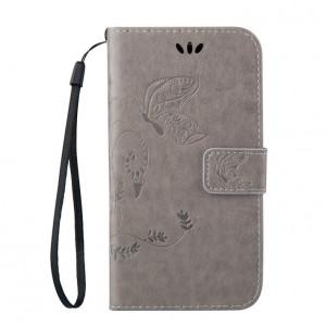 Чехол портмоне подставка текстура Узоры на силиконовой основе на магнитной защелке для HTC Desire 626/628 Серый