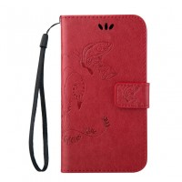 Чехол портмоне подставка текстура Узоры на силиконовой основе на магнитной защелке для HTC Desire 626/628 Красный