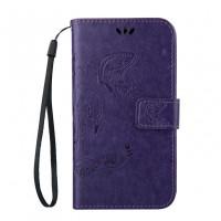 Чехол портмоне подставка текстура Узоры на силиконовой основе на магнитной защелке для HTC Desire 626/628 Фиолетовый