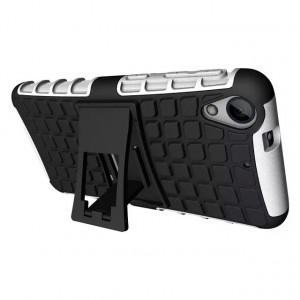 Противоударный двухкомпонентный силиконовый матовый непрозрачный чехол с поликарбонатными вставками экстрим защиты с встроенной ножкой-подставкой для HTC Desire 626/628