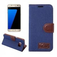 Чехол горизонтальная книжка подставка на силиконовой основе с отсеком для карт и тканевым покрытием на магнитной защелке для Samsung Galaxy S7 Edge  Синий