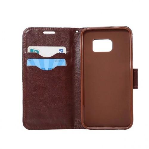 Чехол горизонтальная книжка подставка на силиконовой основе с отсеком для карт и тканевым покрытием на магнитной защелке для Samsung Galaxy S7 Edge  Черный
