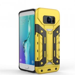 Противоударный двухкомпонентный силиконовый матовый непрозрачный чехол с поликарбонатными вставками экстрим защиты с встроенной ножкой-подставкой для Samsung Galaxy S7 Edge  Желтый