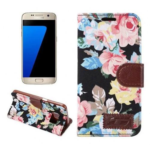 Чехол горизонтальная книжка подставка на силиконовой основе с отсеком для карт и полноповерхностным принтом на магнитной защелке для Samsung Galaxy S7 Edge  Белый