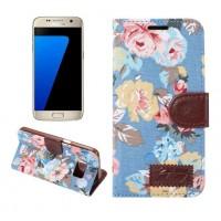 Чехол горизонтальная книжка подставка на силиконовой основе с отсеком для карт и полноповерхностным принтом на магнитной защелке для Samsung Galaxy S7 Edge  Голубой