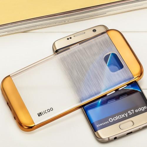 Силиконовый матовый полупрозрачный чехол с текстурным покрытием Металлик для Samsung Galaxy S7 Edge