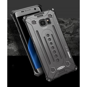 Цельнометаллический противоударный чехол из авиационного алюминия на винтах с мягкой внутренней защитной прослойкой для гаджета с прямым доступом к разъемам для Samsung Galaxy S7 Edge  Черный
